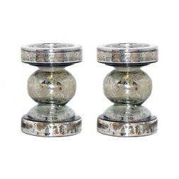 5.75 Inch Pillar Candle Holder Set of 2 in: Antique Silver C
