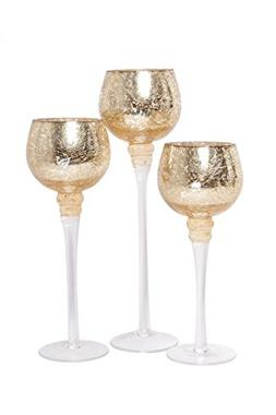 6c7c6806f866 Hosley Set of 3 Crackle Gold Glass Tealight Holders . Ideal