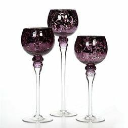 Hosley Set of 3 Crackle Purple Glass Tealight Holders . Idea