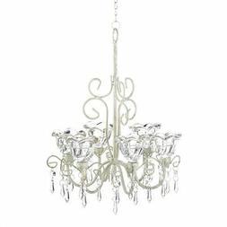 Lot of 3 Crystal Bloom Candle Chandelier Lantern Light Hang