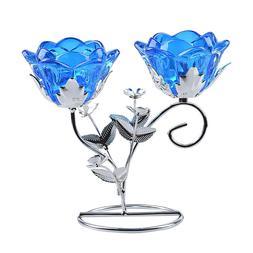 Crystal Blue Candlesticks Candle Holder Wedding Event Banque
