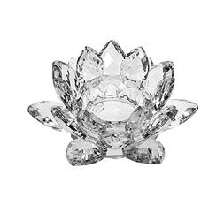 """4.5"""" Crystal Clear Lotus Candle Holder by Sunrise Crystal"""
