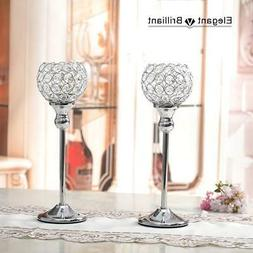 VINCIGANT Crystal Candle Holder Silver Set of 2 for Decorati