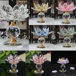 Crystal Lotus Flower Candle Holder Tealight Home Tabletop Fe