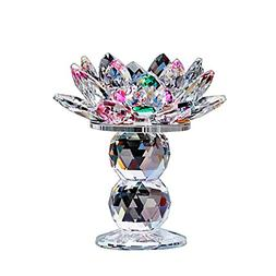 Crystal Lotus Flower Tealight Candle Holder 4.5 Inch Colorfu