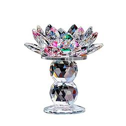Waltz&F Crystal Lotus Flower Tealight Candle Holder 4.5 Inch
