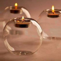 Crystal Transparent Glass Candle Holder Stand Wedding Tealig