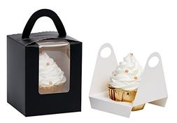 YoTruth Bakery Black Single Serve Cupcake Box With Window Ho