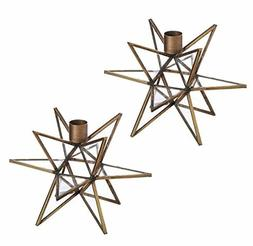 Cypress Home Brass Moravian Star Metal Taper Candle Holders,
