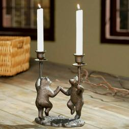 Dancing Bears Candle Holder Centerpiece Rustic Cabin Lodge D