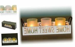 Home Sweet Home 3 Glass Candle Holder Set, LED Tealights and