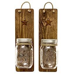 Heartful Home Decor Ball Mason Jar Wall Sconces - Primitive