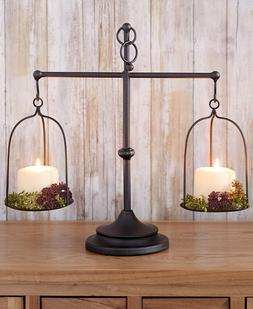 Decorative Antique Metal Farmhouse Scale Candle Holder Count