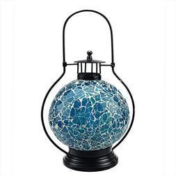 "Northlight 12"" Decorative Aqua Blue and White Mosaic Glass T"
