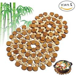 Flee Decorative Bamboo Trivets Mat For Hot Dishes Pot Coaste