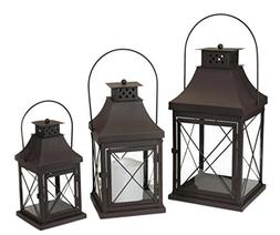 "Set of 3 Decorative Brown Iron Candle Lanterns 20"""