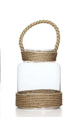 Hosley Glass Lantern with Rope Lanyard Tea Light/LED, Citron