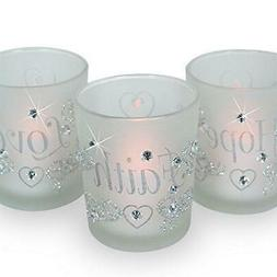 Decorative Glass Votive Holders - FAITH HOPE LOVE Frosted Gl