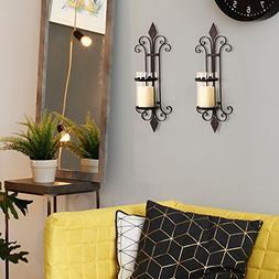 DecentHome Decorative Hurricane Pillar Candle Brown Wall Sco
