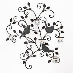 Asense Decorative Metal Wall Art Candle Holder Wall with Bir