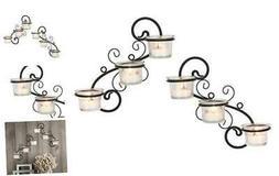 Decorative Tea Light Candle Holder Wall Sconce Set, 6-tealig