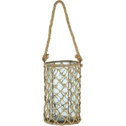 """A&B Home 10"""" Decorative Teal Glass and Jute Round Pillar Can"""