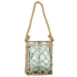 """A&B Home 6.75"""" Decorative Teal Glass and Jute Square Pillar"""
