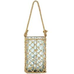 """A&B Home 9.5"""" Decorative Teal Glass and Jute Square Pillar C"""
