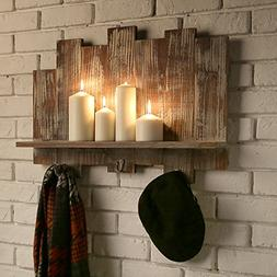 Distressed Barnwood Floating Shelf Rack with Staggered Board