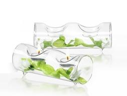 double clear glass tealight candle
