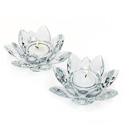 Le'Raze Crystal Votive Candle Holder, Glass Tea Light Lotu