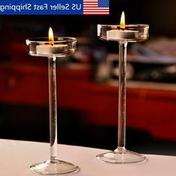 Elegant Glass Pillar Candle Holder Tealight Candlestick Wedd