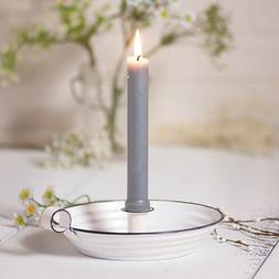Enamel Colonial Taper Candle Holder - Rustic Farmhouse Home
