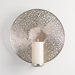 Etched Silver Metal Wall Candle Sconce Round | Modern Abstra