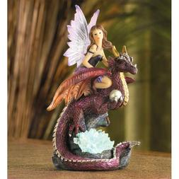 Fairy Riding Dragon with Color-Changing Crystals