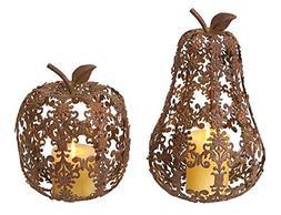 Set of 2 Fall Harvest Fleur-de-Lis Apple & Pear Thanksgiving