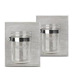 HOMKO Farmhouse Mason Jar Bathroom Kitchen or Office Wooden