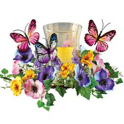 Faux Floral Candle Holder With Butterflies, by Collections E