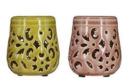 True Grit Fine Ceramic 2-Piece Set Round Base Mediterranean