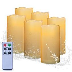 AMAGIC Set of 6 Outdoor Flameless Candle Bulk Include 6-Key