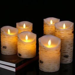 Flameless LED Candles Flickering Light Pillar Real Birch bar