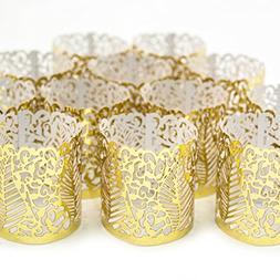 Accessories FLAMELESS TEA LIGHT VOTIVE WRAPS- Gold colored l
