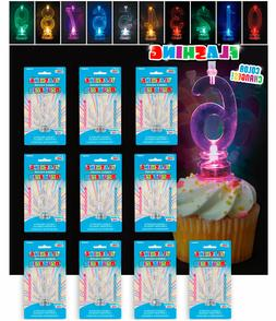 Flashing Number Candle Holder Birthday Cake Candles Toppers