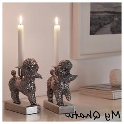 Ikea FOREMAL Set of 2 Candlestick Candle Holder Dog Poodle L