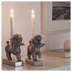 Ikea FOREMAL Set of 2 Candlestick Candle Holder Dog Poodle L