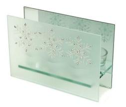 """8.25"""" Frosted Glass Glittered Snowflake Design Mirrored Chri"""