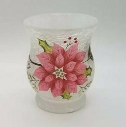 Yankee Candle - FROSTED Poinsettia CRACKLE GLASS HURRICANE V