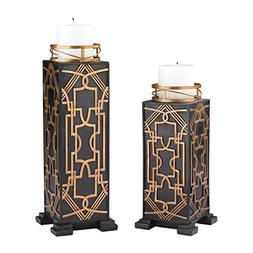 Set of 2 Gatsby Candleholders in Black, Gold
