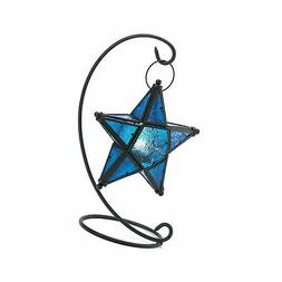 Gifts & Decor Blue Sapphire Star Tabletop Candleholder Lante