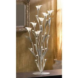 Gifts & Decor Silver Calla Lily Bunch Tealight Candle Holder
